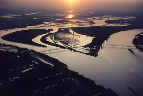 Confluence of the Mississippi River & Ohio River at Cairo, Illinois