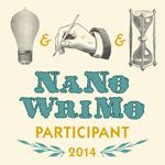 NaNoWriMo participant 2014 button