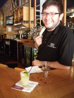 Son-in-law David mixing up a mini-margarita for his mother-in-law (me) during our visit to Nashville. Impressive.