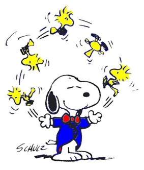 Snoopy Juggling Woodstock Schult