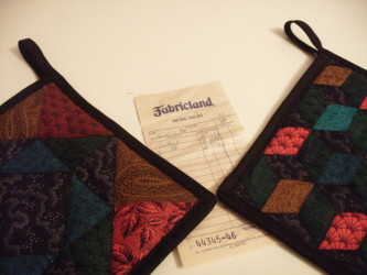 1994 Fabricland Receipt with 2015 potholders