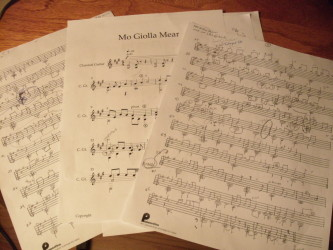 My hand scored copies alongside newly entered NOTION scored parts of Mo Giolla Mear