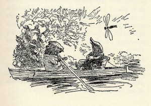 Ratty and Mole on the River from 'The Wind in the Willows' (1931 illustration by EH Shepard)