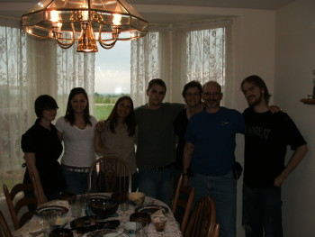 our last family meal around the table in our home in Colorado, 2009  L-R: Michelle, Christy (niece), me, Nick (nephew), Linda (s-i-l), Dick (brother), and Joe (hubby snapped the photo)