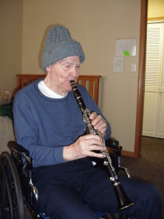 Dad at 93 practising his clarinet 2016
