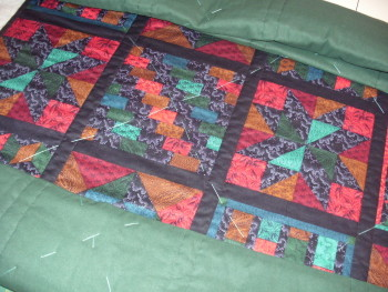 quilt ready for horizontal stitching