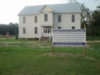 Goodwill Parochial School with restoration sign