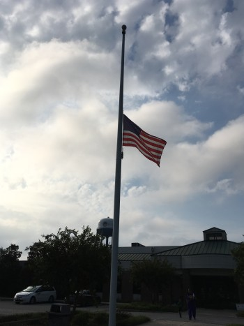 flag half mast in front of YMCA Florence, SC