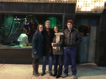 Michelle, Joe, me, hubby in front of the Green Mill Lounge in Chicago, taking in a show.