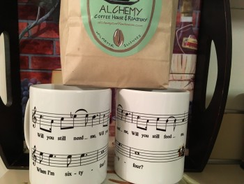 64 mugs and Alchemy Coffee Beans