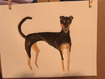 Shelby their whippet-mutt, a WIP by Michelle