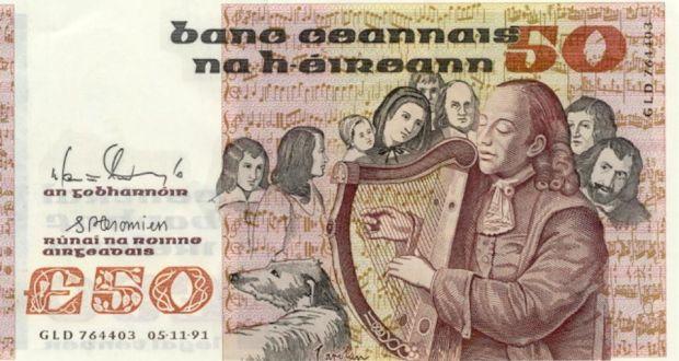 Turlough O'Carolan on Irish 50 pound note